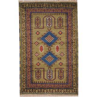 Herat Oriental Indo Hand-knotted Tribal Kazak Light Green/ Blue Wool Rug (3' x 5')