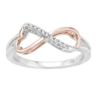 10k Rose and White Gold Diamond Accent Infinity Fashion Ring