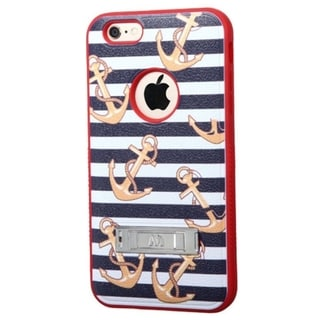 Insten Silver Nautical Stripes Verge Hard PC/ Silicone Dual Layer Hybrid Phone Case Cover with Stand For Apple iPhone 6 Plus