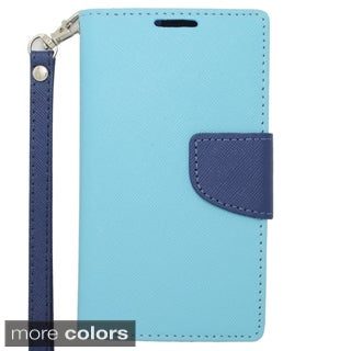 Insten Plain Leather Phone Case Cover Lanyard with Stand/ Wallet Flap Pouch For LG F70 D315