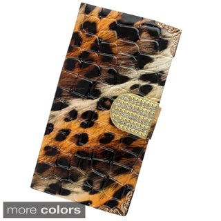 Insten Plain Leopard Leather Phone Case Cover with Diamond For Samsung Galaxy Avant