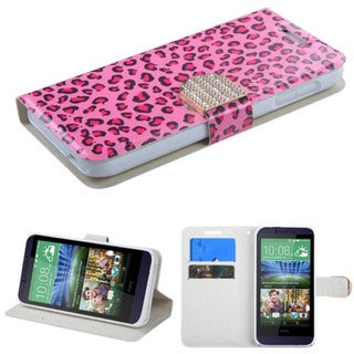Insten Skin Leather Phone Case Cover with Stand/ Wallet Flap Pouch/ Diamond For HTC Desire 510