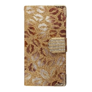 Insten Gold Lips Leather Phone Case Cover with Wallet Flap Pouch/ Diamond For Samsung Galaxy Avant