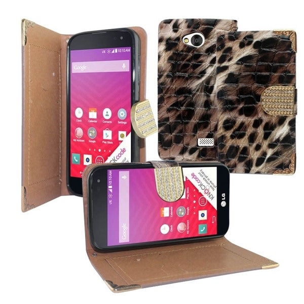 Insten Plain Leopard Leather Phone Case Cover with Diamond For LG Optimus F60