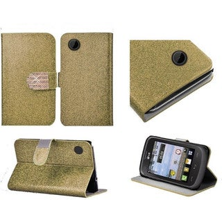 Insten Gold Leather Glitter Phone Case Cover with Stand/ Wallet Flap Pouch/ Diamond For LG 306G