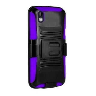 Insten Black/ Purple Hard PC/ Silicone Dual Layer Hybrid Phone Case Cover with Holster For HTC Desire 816