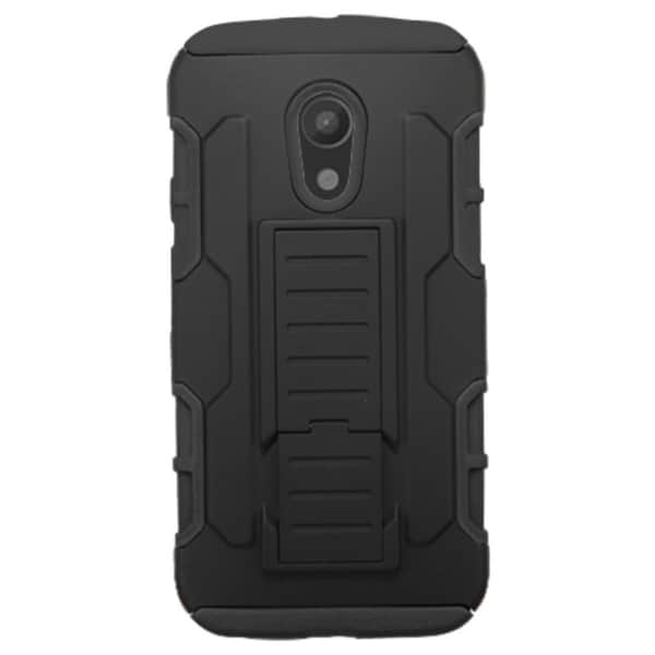 Insten Car Armor Hard PC/ Silicone Hybrid Rubberized Matte Phone Case Cover with Stand For Motorola Moto G 2nd Gen