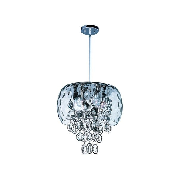 Metal 6-light Nickel Ripple Single Pendant