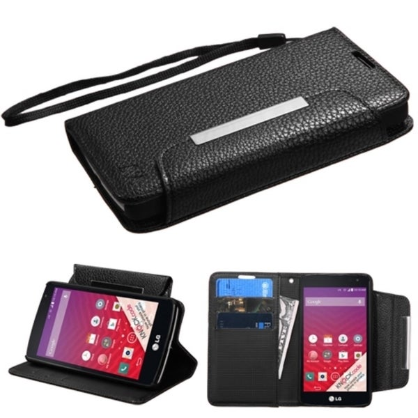 Insten Black Leather Phone Case Cover Lanyard with Stand/ Wallet Flap Pouch For LG Optimus F60