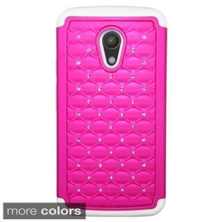 Insten Plain Hard PC/ Silicone Dual Layer Hybrid Rubberized Matte Phone Case Cover with Diamond For Motorola Moto G 2nd Gen