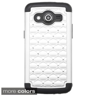 Insten Hard PC/ Silicone Dual Layer Hybrid Rubberized Matte Phone Case Cover with Diamond For Samsung Galaxy Avant