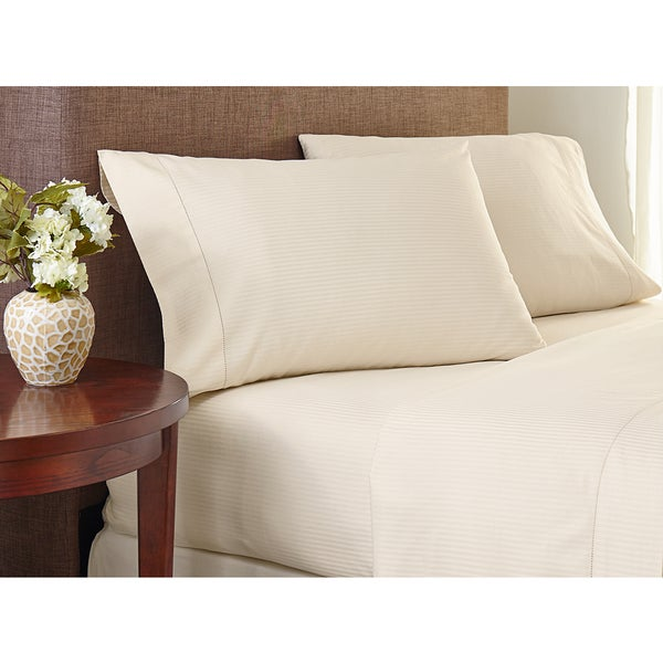 Crowning Touch Cotton Natural 400 Thread Count Striped Sheet Set