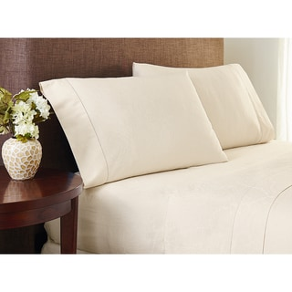 Crowning Touch Cotton Natural Jacquard Sheet Set with Optional Pillowcase Separates