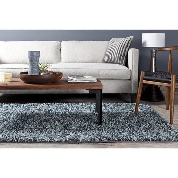 Decenni GEM-9601 Modern New Zealand Wool Blue Shag Rug (8 x 10)
