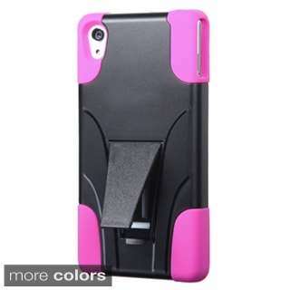 Insten Plain Hard PC/ Silicone Dual Layer Hybrid Phone Case Cover with Stand For Sony Ericsson Xperia Z3v