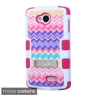 Insten Design Pattern Tuff Hard PC/ Silicone Hybrid Rubberized Matte Phone Case Cover with Stand For LG Optimus F60
