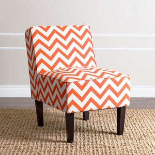 ABBYSON LIVING Sasha Orange Chevron Fabric Slipper Chair