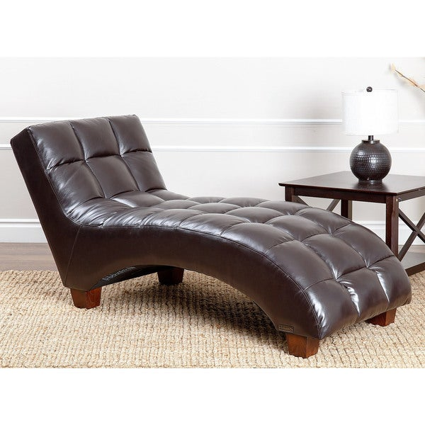Abbyson living carter dark brown leather tufted chaise for Bella chaise dark brown