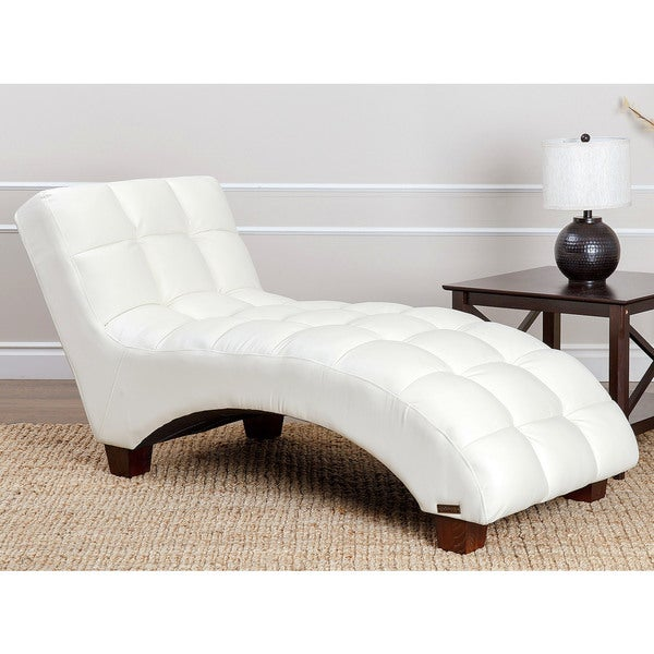 Abbyson living carter ivory faux leather tufted chaise for Abbyson living soho cream fabric chaise