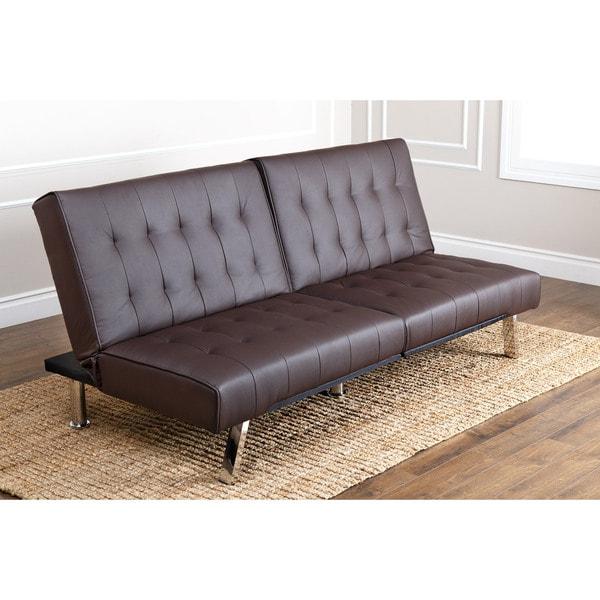 ABBYSON LIVING Jackson Dark Brown Leather Foldable Futon Sofa Bed