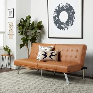 Abbyson Jackson Camel Leather Foldable Futon Sofa Bed