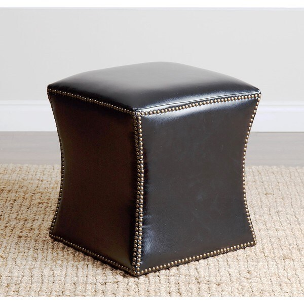 ABBYSON LIVING Kimberly Black Leather Nailhead Trim Ottoman