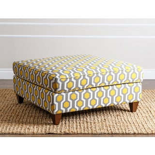 ABBYSON LIVING Conway Yellow Pattern Square Cocktail Ottoman