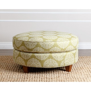 ABBYSON LIVING Conway Floral Moss Fabric Round Ottoman