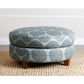 ABBYSON LIVING Conway Floral Teal Fabric Round Ottoman