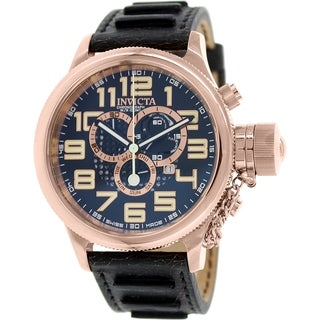 Invicta Men's Russian Diver 10555 Black Leather Swiss Chronograph Watch