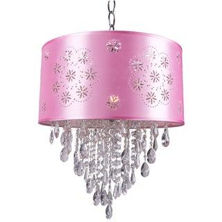 One-Light Chrome Pendant with a Pink Shade and Clear European Crystals