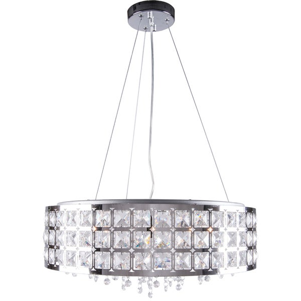Five-Light Round Chrome Pendant with Clear European Crystal