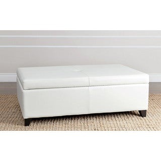ABBYSON LIVING Frankfurt Ivory Leather Storage Flip-top Ottoman