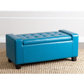 ABBYSON LIVING Montecito Blue Leather Storage Ottoman