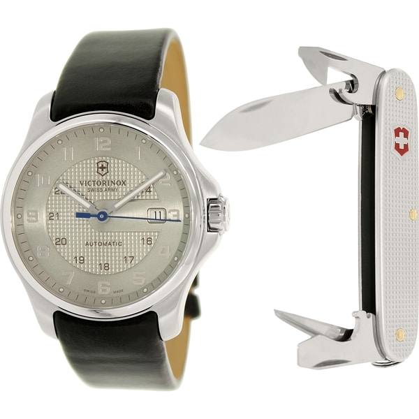 Victorinox Swiss Army Men's Officers 241672.2 Silvertone Leather Swiss Automatic Watch