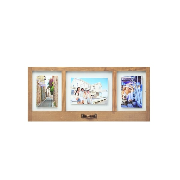 Melannco Natural Wood Floating Collage Picture Frame