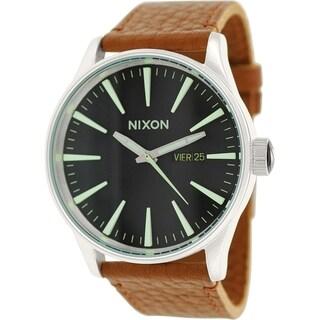 Nixon Men's Sentry A1051037 Brown Leather Leather Quartz Watch