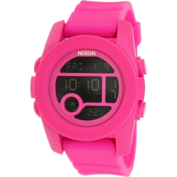 Nixon Men's Unit 40 A490076 Pink Rubber Quartz Watch
