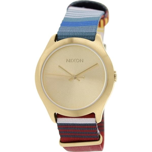 Nixon Men's Mod A3481685 Goldtone Cloth Quartz Watch