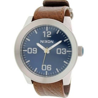Nixon Men's Corporal A2431656 Brown Leather Leather Quartz Watch