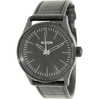 Nixon Men's Sentry A3771886 Black Leather Quartz Watch