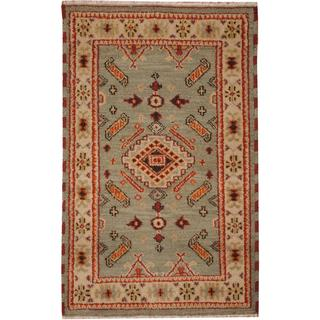 Herat Oriental Indo Hand-knotted Tribal Kazak Gray/ Ivory Wool Rug (3' x 5')