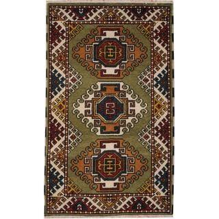 Herat Oriental Indo Hand-knotted Tribal Kazak Light Green/ Ivory Wool Rug (3' x 5')