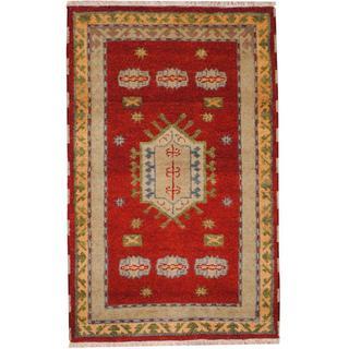 Herat Oriental Indo Hand-knotted Tribal Kazak Burgundy/ Gold Wool Rug (3' x 5')