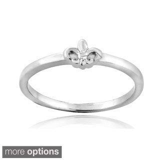 Mondevio Sterling Silver Fleur de Lis Polished Promise Ring