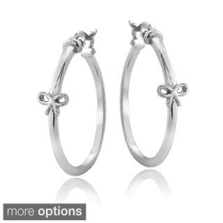 Mondevio Sterling Silver Bow Polished Hoop Earrings