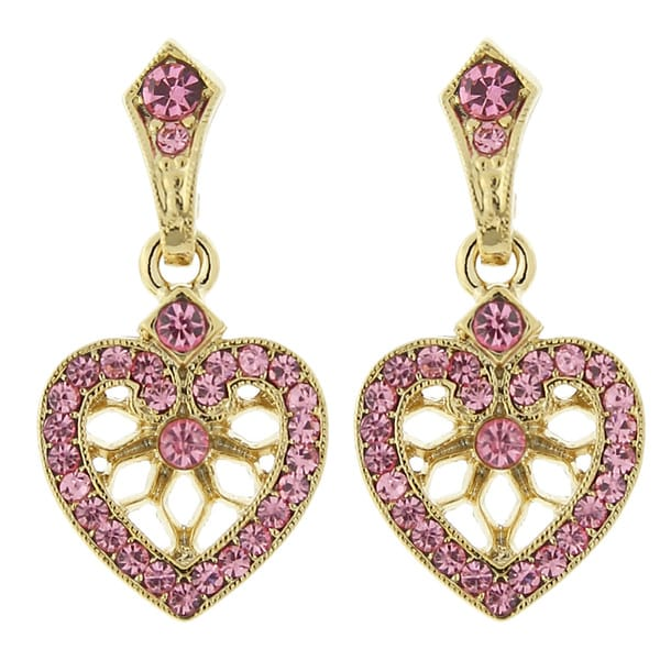 1928 Be Mine Goldtone Filigree with Pink Crystal Heart Earrings