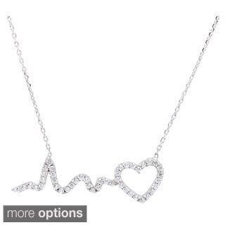 La Preciosa Sterling Silver Cubic Zirconia Heart and HeartBeat Necklace