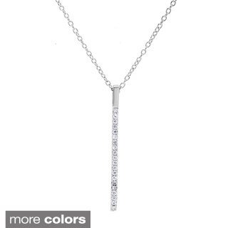 La Preciosa Sterling Silver Cubic Zirconia Micro Pave Vertical Bar Necklace