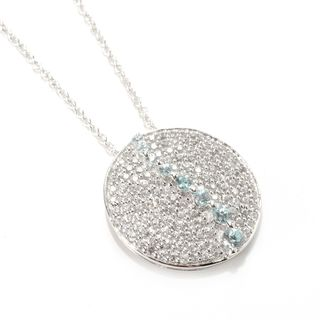 Sterling Silver 2.37ctw White and Blue Zircon Circle Pendant Necklace